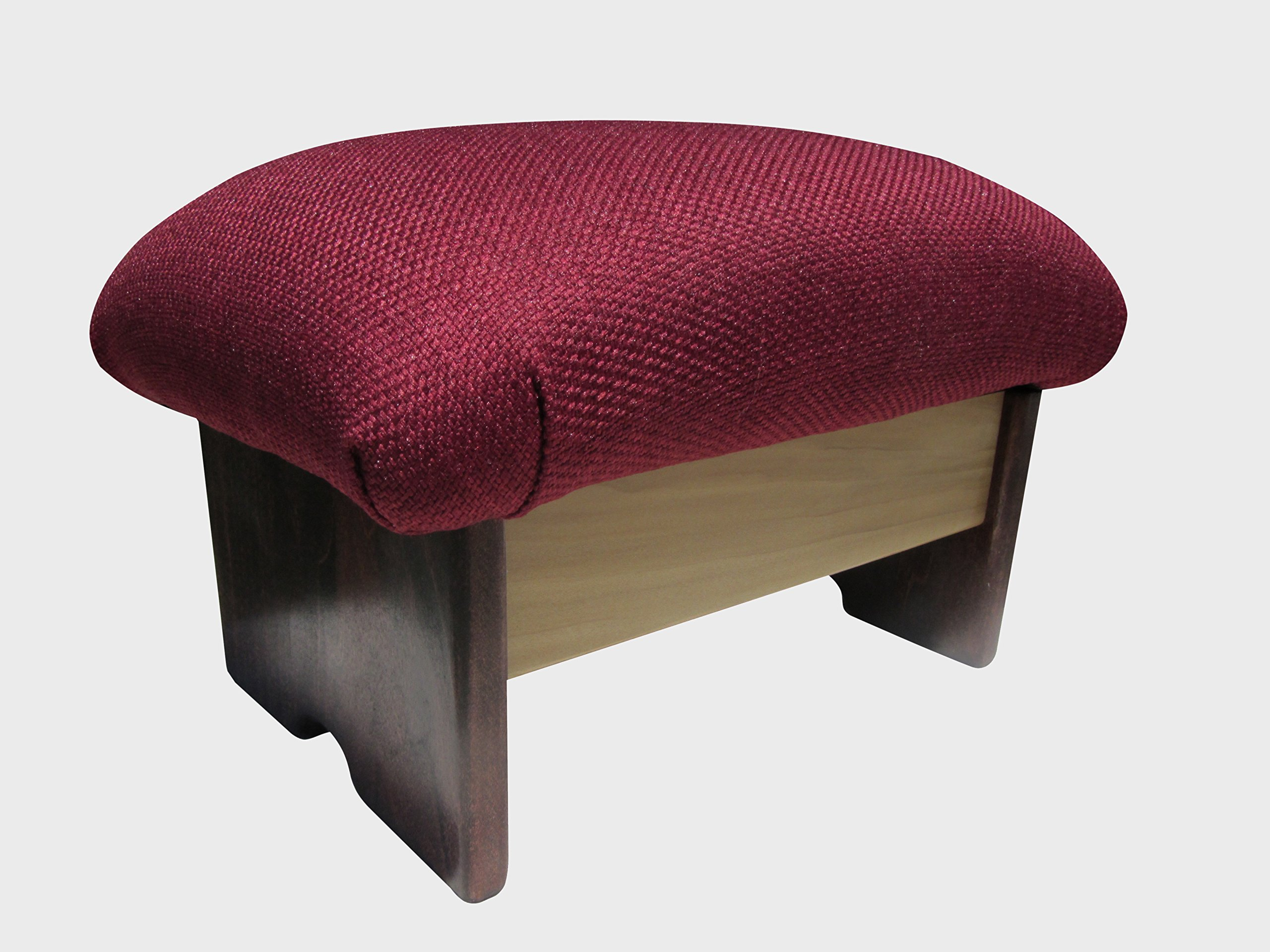 Padded Foot Stool Solid Fabrics 9'' Tall, Chic Stain (Made in the USA) (Burgundy) by KR Ideas
