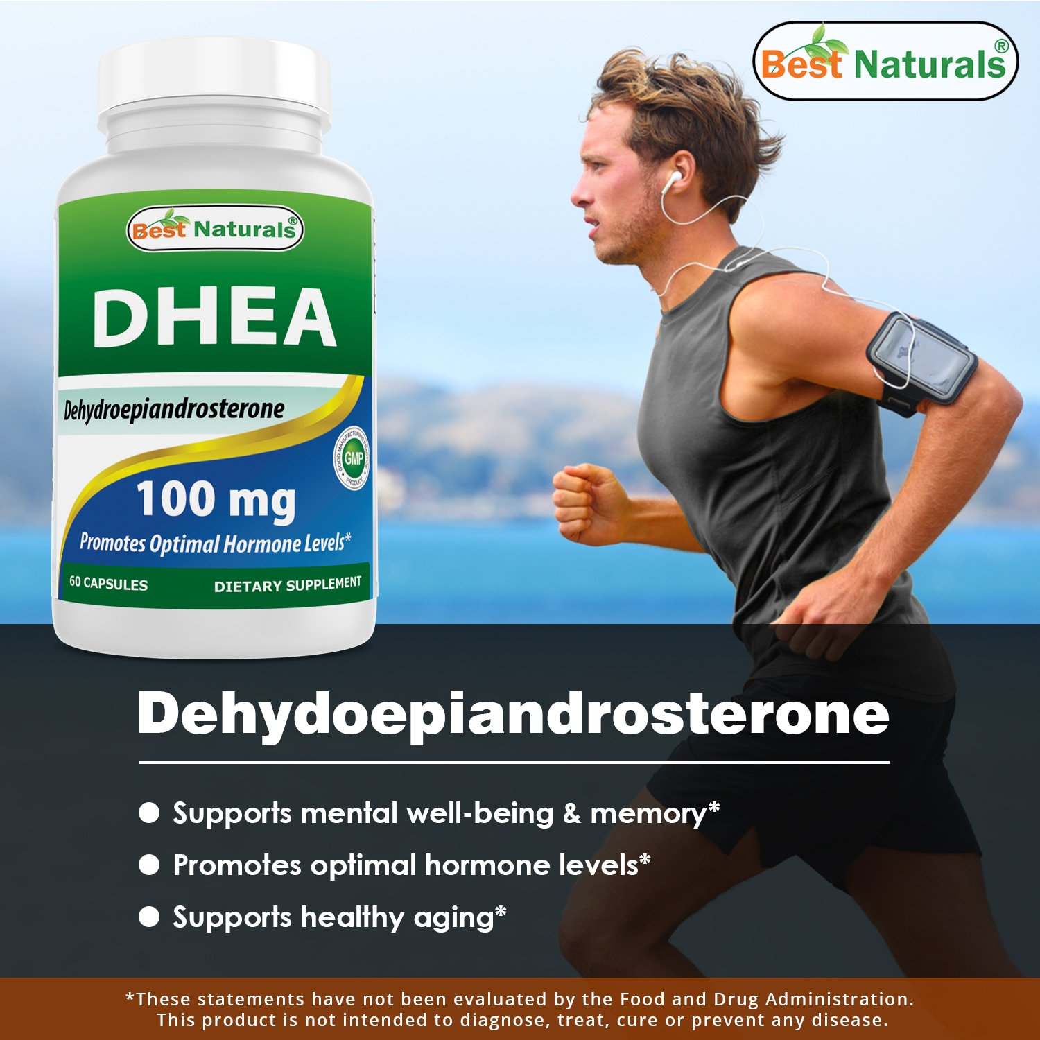 Best Naturals DHEA 100mg Supplement 60 Capsules  Supports Balanced Hormone Levels for Men  Women