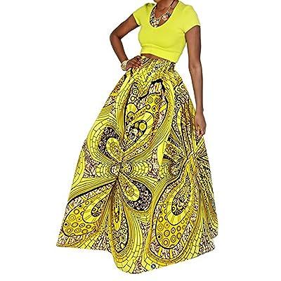 Aimeio Women Summer Bohemian Printed High Waist Elastic Slim Long Skirts Swing Beach Maxi Skirt,Assorted Colors
