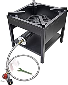 ARC USA 4242S 200,000 BTU Outdoor Propane High Pressure Cast Iron Single Gas Cooking Camping Stove,Adjustable 0-20 PSI CSA Regulator&Hose, Great for Back Yard and Outdoor Cooking