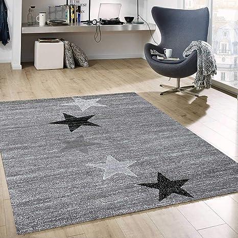Teppich Modern Design Grau Schwarz Weiss Kurzflor Stern Muster