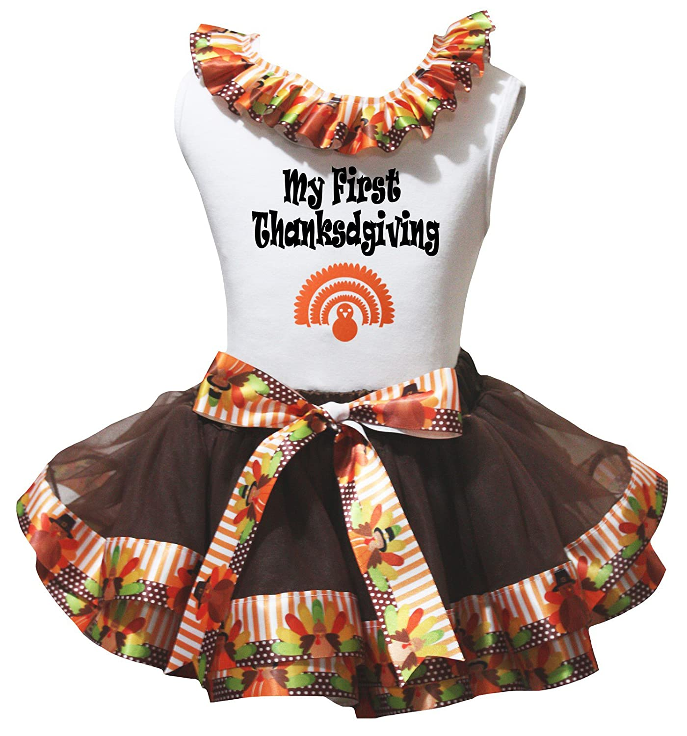 Petitebella My First Thanksgiving White Shirt Brown Turkey Petal Skirt Nb-8y