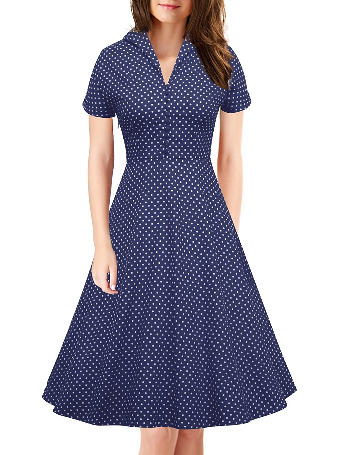4b57e648acd 1940s Shirtwaist Dress History iLover Womens Classy Vintage 1940s Short  Sleeves Rockabilly Swing Evening Dress  28.99