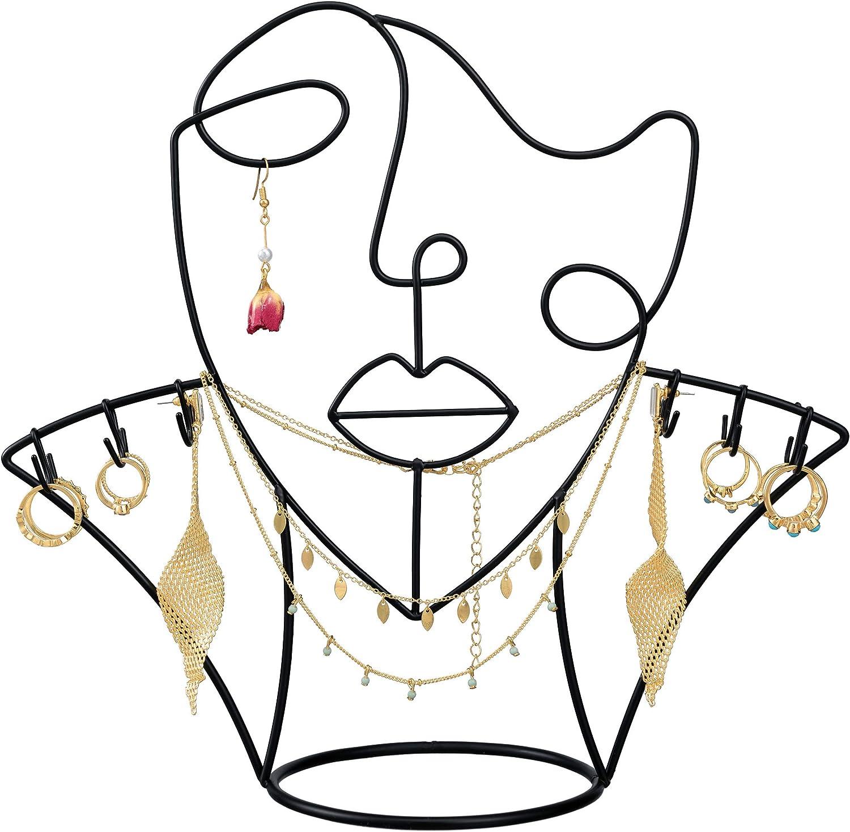 Hugo Décor Jewelry Display – 3-in-1 Jewelry Stand, Hat Stand, Key Holder – Minimalist Woman Figure Jewelry Organizer– Modern and Elegant Wire Rack for Jewelry Storage – Unique Home Decor