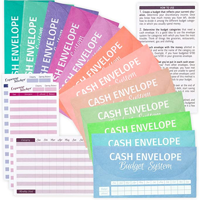 Amazon.com : GoGirl Cash Envelopes for Budget System - 12 Reusable TYVEK Money Envelopes in Assorted Colors, Durable & Waterproof, Perfect for Budgeting + 12 Expense Tracking Sheets & User Manual, Plastic Zip Bag : Office Products