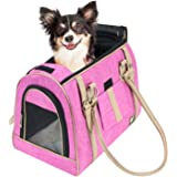 Frontpet Soft Pet Carrier- Airline Approved Stylish Pink Pet Carrier Purse With Faux Leather Accents And Padded Fleece Insert / Pet Carrier Purse