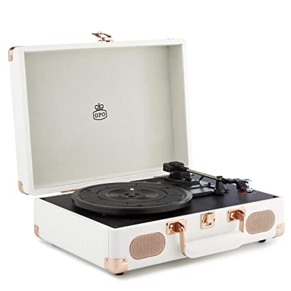 GPO Soho Reproductor de vinilos Retro con diseño de maletín, 3 ...