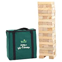 Garden Games Jumbo Hi-Tower in a Bag, builds from 0.6metres upto 1.5metres in play, Solid Pine Wood Tumble Tower Game