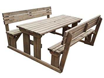 Astounding Alders Wooden Garden Picnic Table And Benches With Back Rest Pabps2019 Chair Design Images Pabps2019Com