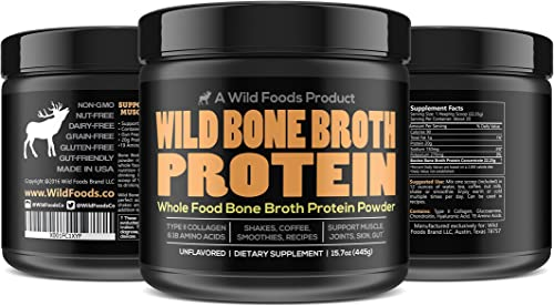 Bone Broth Protein Powder by Wild Foods Non-GMO, Paleo, All-Natural, Unflavored, Grass-Fed Bovine Sourced 1 Pound