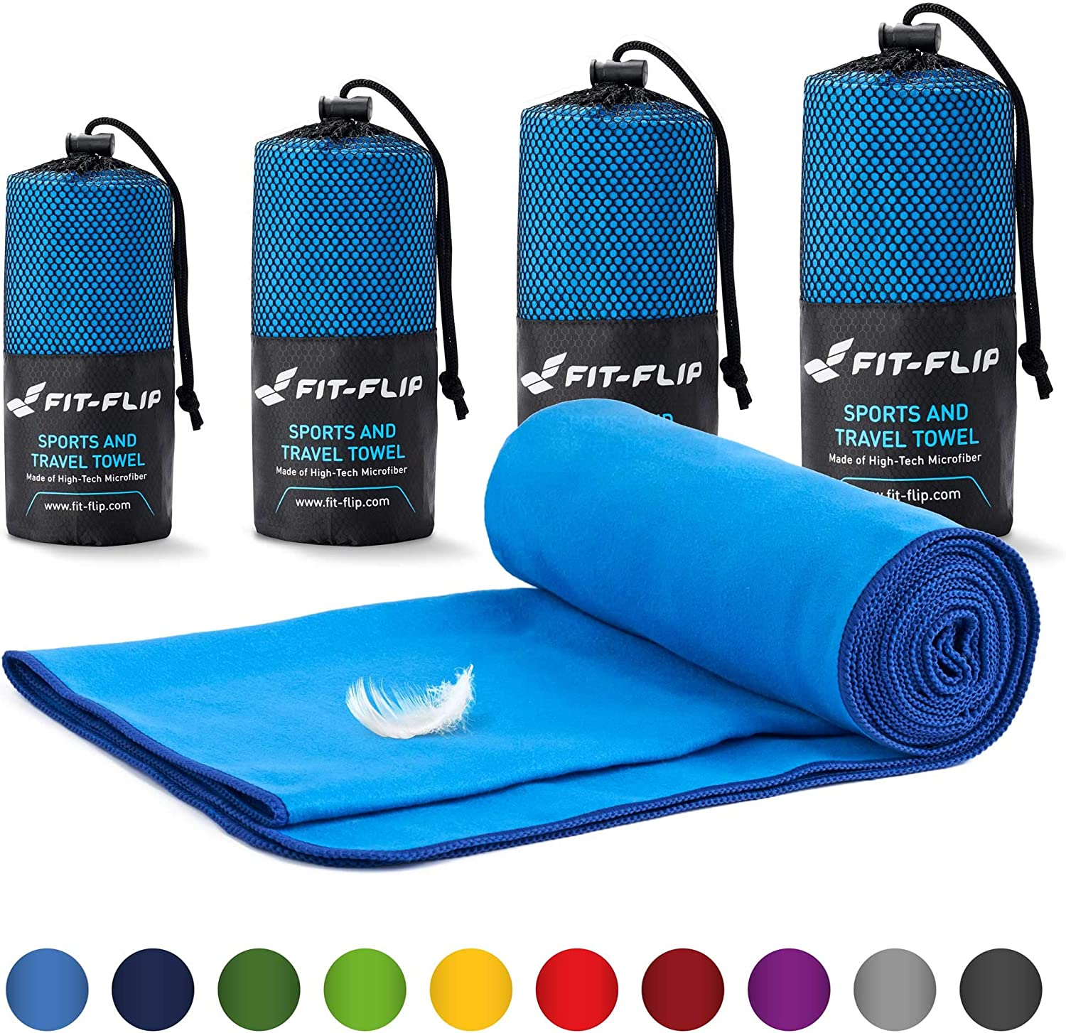 Fit-Flip Microfibre towel set 6 sizes camping towel and swim towel 15 colours ultra lightweight microfiber towels compact /& fast-drying the perfect sports towel