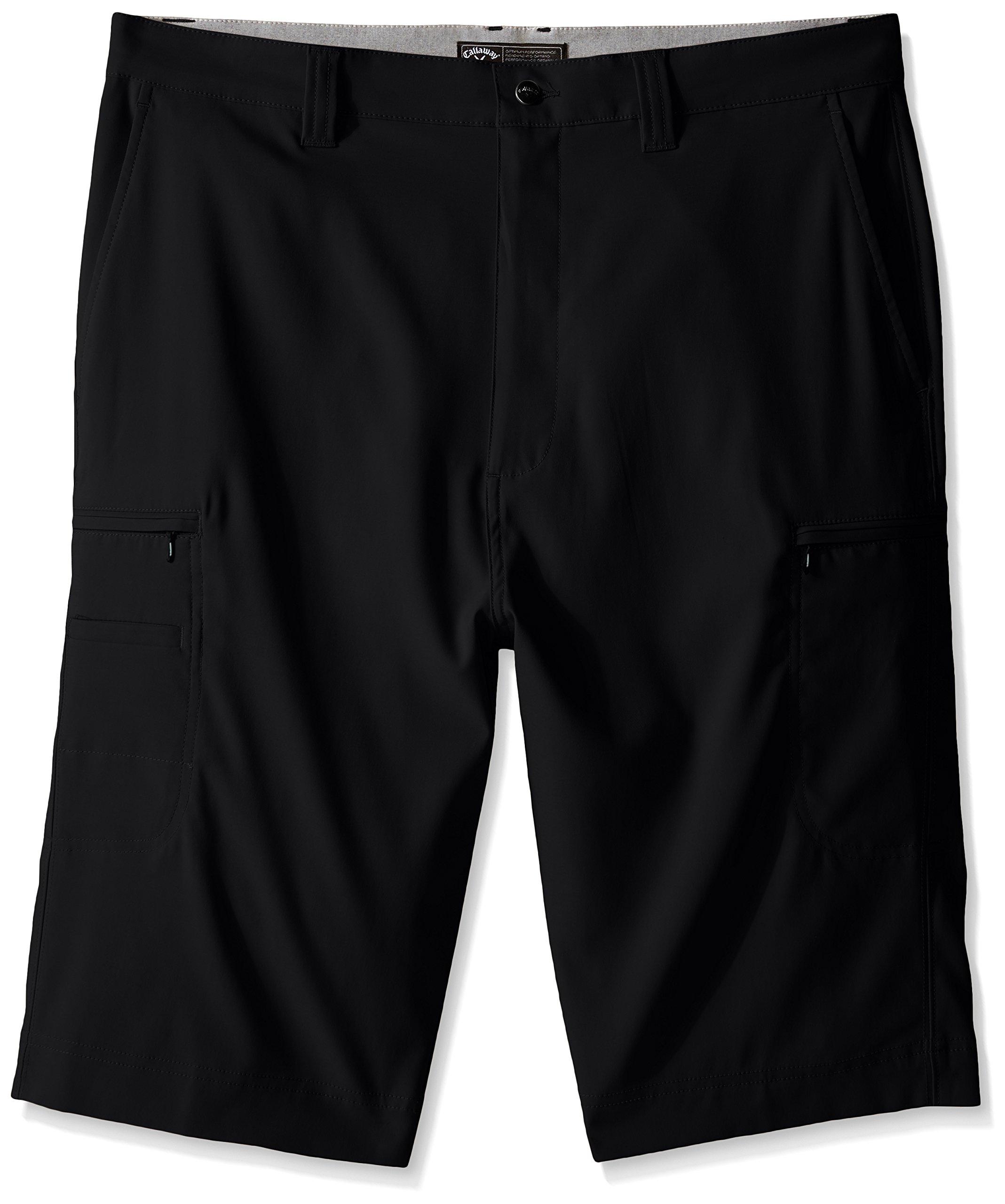 Callaway Men's Big & Tall Golf Performance Flat Front Cargo Shorts, Caviar, 42 Big