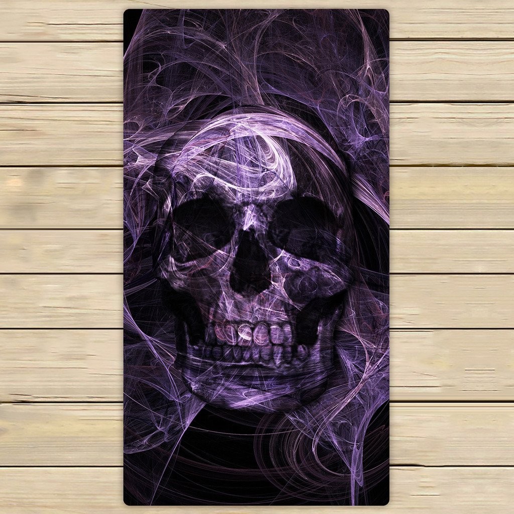 Cotton Bath Towels,Bathroom Body Shower Towel,Custom Purple Fluorescence Skull Beach/Shower Towel Wrap For Home and Travel Use Size 13x13 inches LOVEIOAXKJ