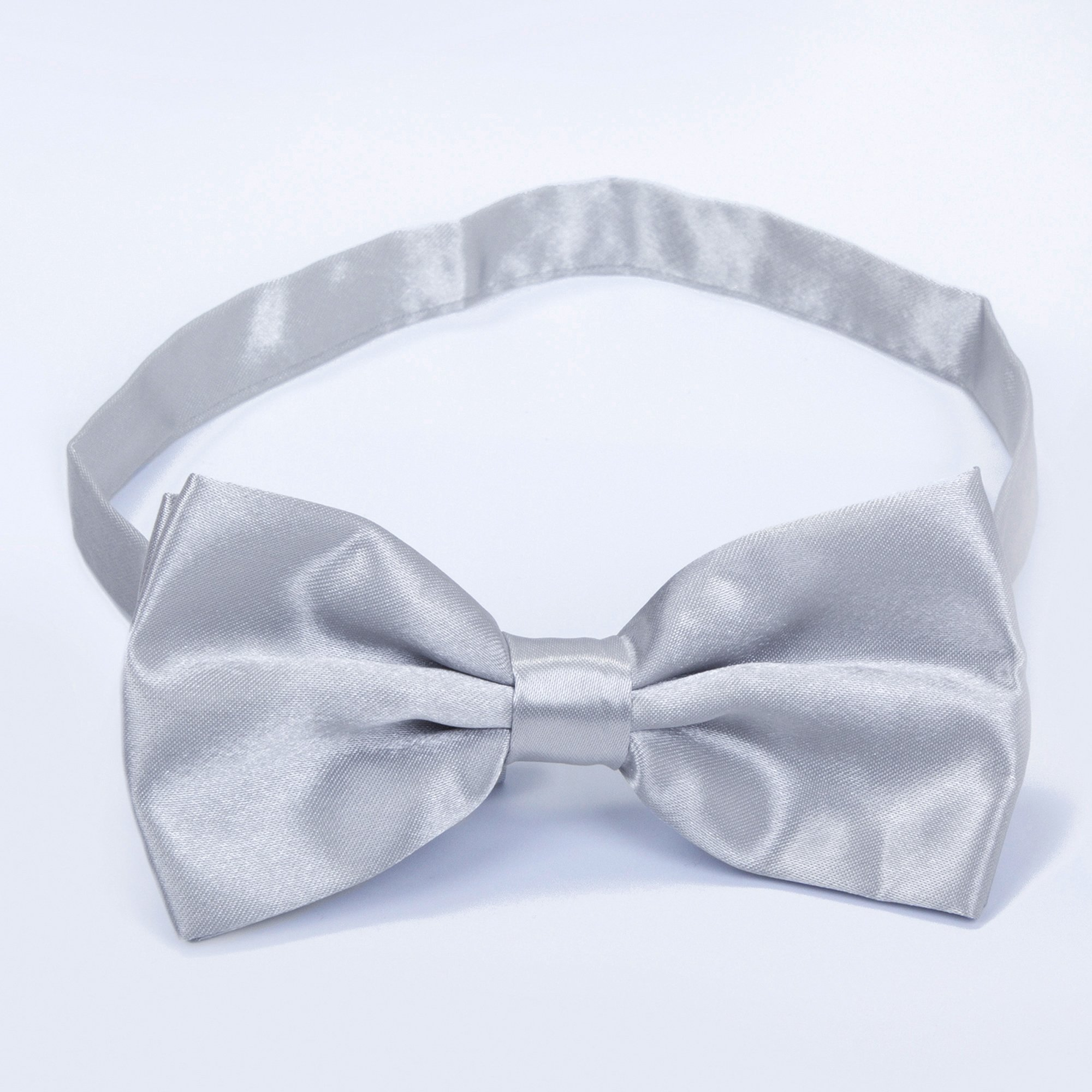 Boys Children Formal Bow Ties - 6 Pack of Solid Color Adjustable Pre Tied Bowties(Silver) by Kajeer (Image #3)