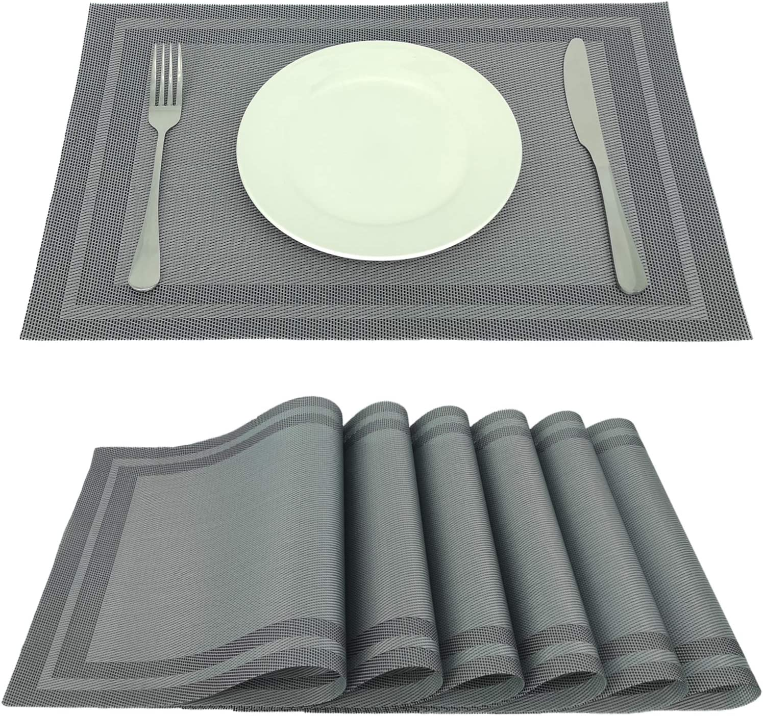 Onlyer Placemats for Dining Table Set of 6, 18 x12 Inches Heat-Resistant Table Mats, Stain Resistant Anti-Skid Washable PVC Table Placemats, Woven Vinyl Kitchen Place Mats (Sliver Gray)