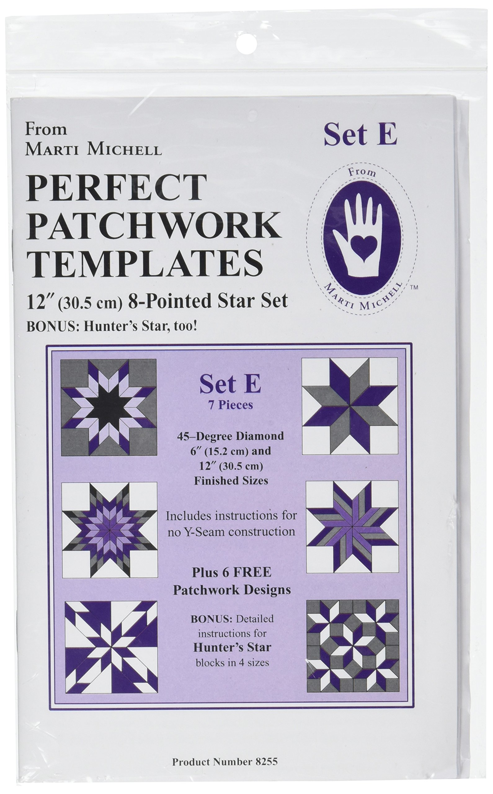 Perfect Patchwork Template Set E, Eight Pointed Star Set, Package of Seven by Perfect Patchwork