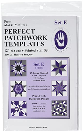 Perfect Patchwork Template Set E Eight Pointed Star Package Of Seven