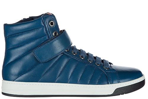 Prada Scarpe Sneakers Alte Uomo in Pelle Nuove Nappa Sport Blu  Amazon.it   Scarpe e borse 0f9352c0f06