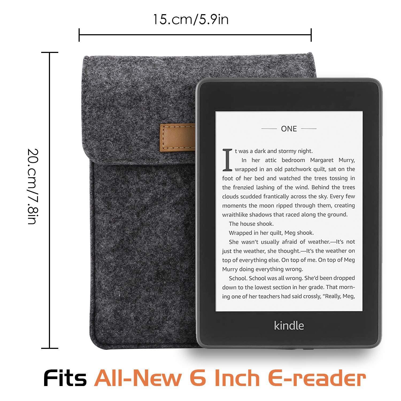 MoKo 6-Inch E-Reader Sleeve Case Bag Portable Felt Carrying Protective Case Cover Pouch for Kobo Touch 2.0 Dark Gray Tolino Shine 6 Tablet E-Book E-Reader