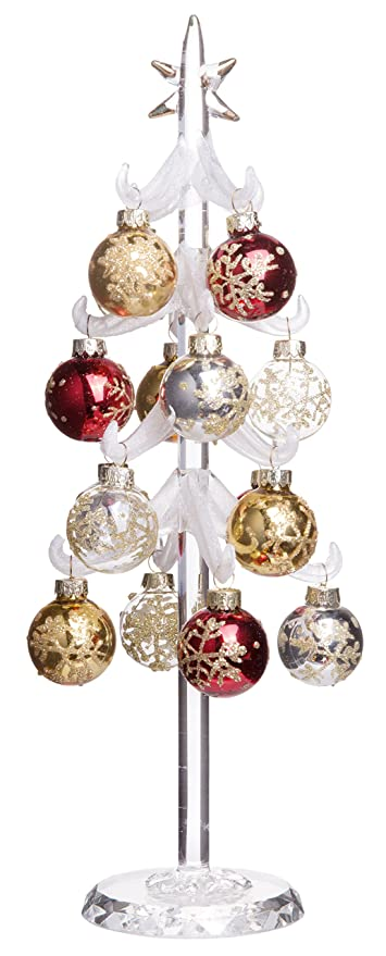 snowy white christmas tree mini glass decoration with removable sphere ornaments holiday season dcor