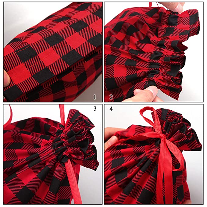 Aneco 6 Pack Cotton Red and Black Plaid Drawstring Bag Stocking Storage Sack Present Xmas Gift Bags Party Favors Bags
