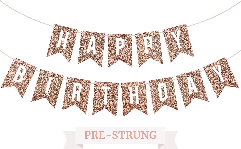 Pre-Strung Happy Birthday Banner - NO DIY - Rose Gold Glitter Birthday Party Banner - Pre-Strung Garland on 6 ft Strands - Rose Gold Birthday Party Decorations & Decor. Did we Mention no DIY?