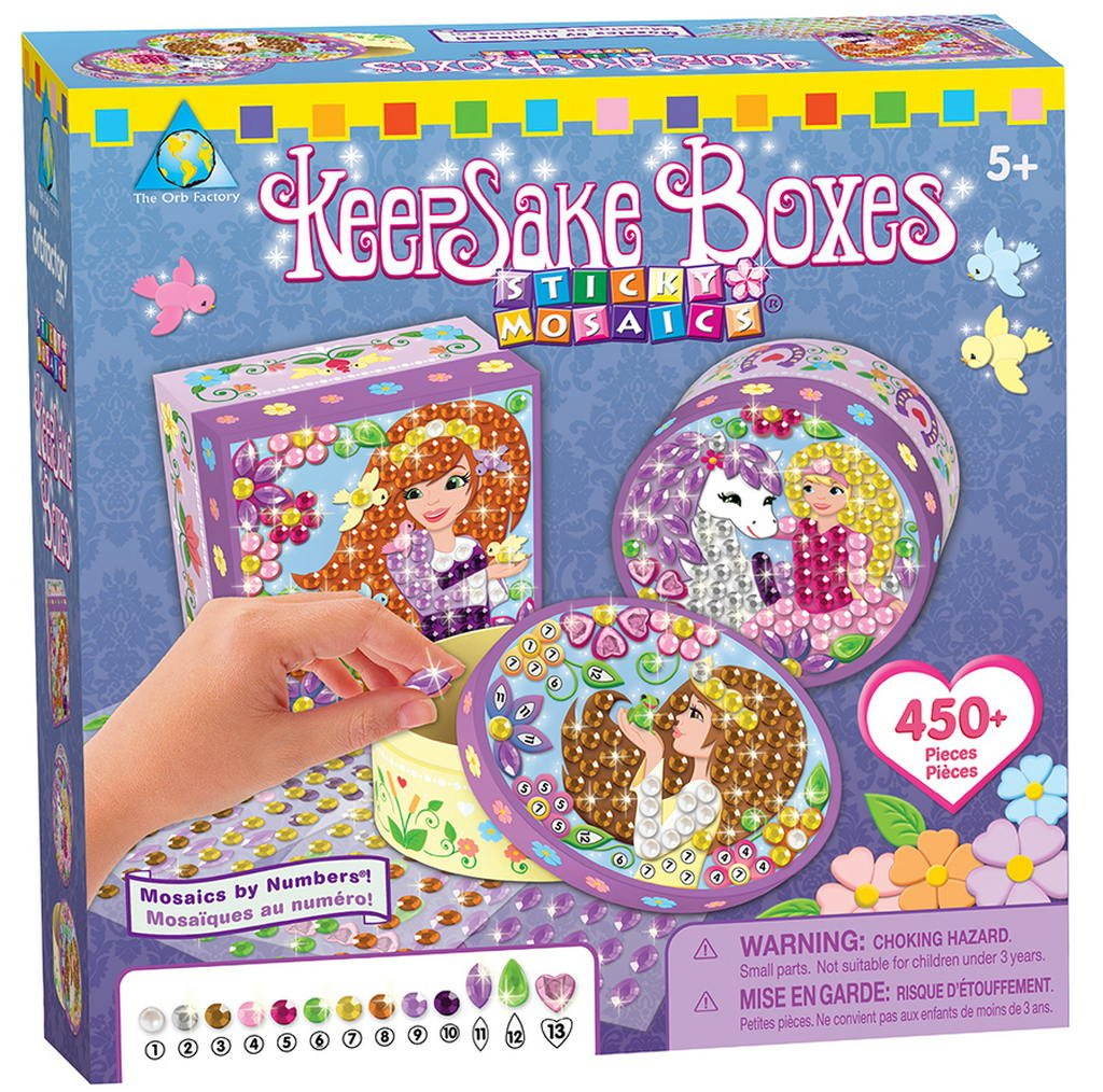 The Orb Factory Sticky Mosaics by Numbers Toy - Keepsake Box - 450 Pieces - Child Arts and Crafts