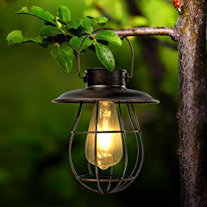 Solar Lantern Outdoor Hanging Waterproof Garden Lights Vintage Solar Lantern with Handle Retro Solar Lamp for Front Porch, Patio and Yard Waterproof Garden Lighting