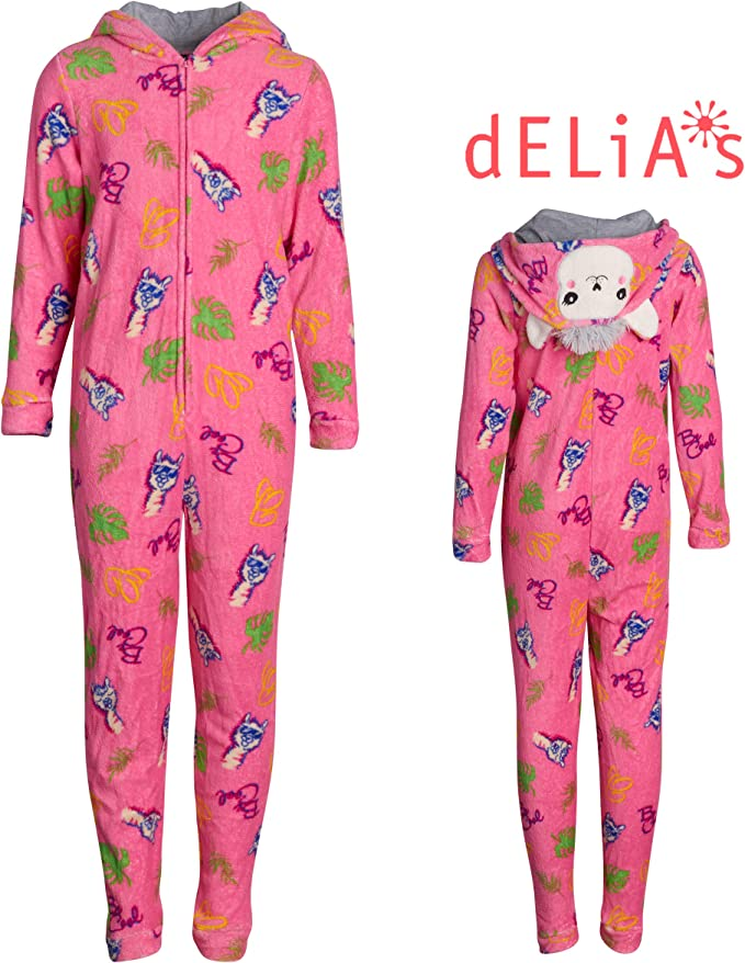 2 Pack dELiAs Girls Coral Fleece Onesie Pajamas with Character Hood