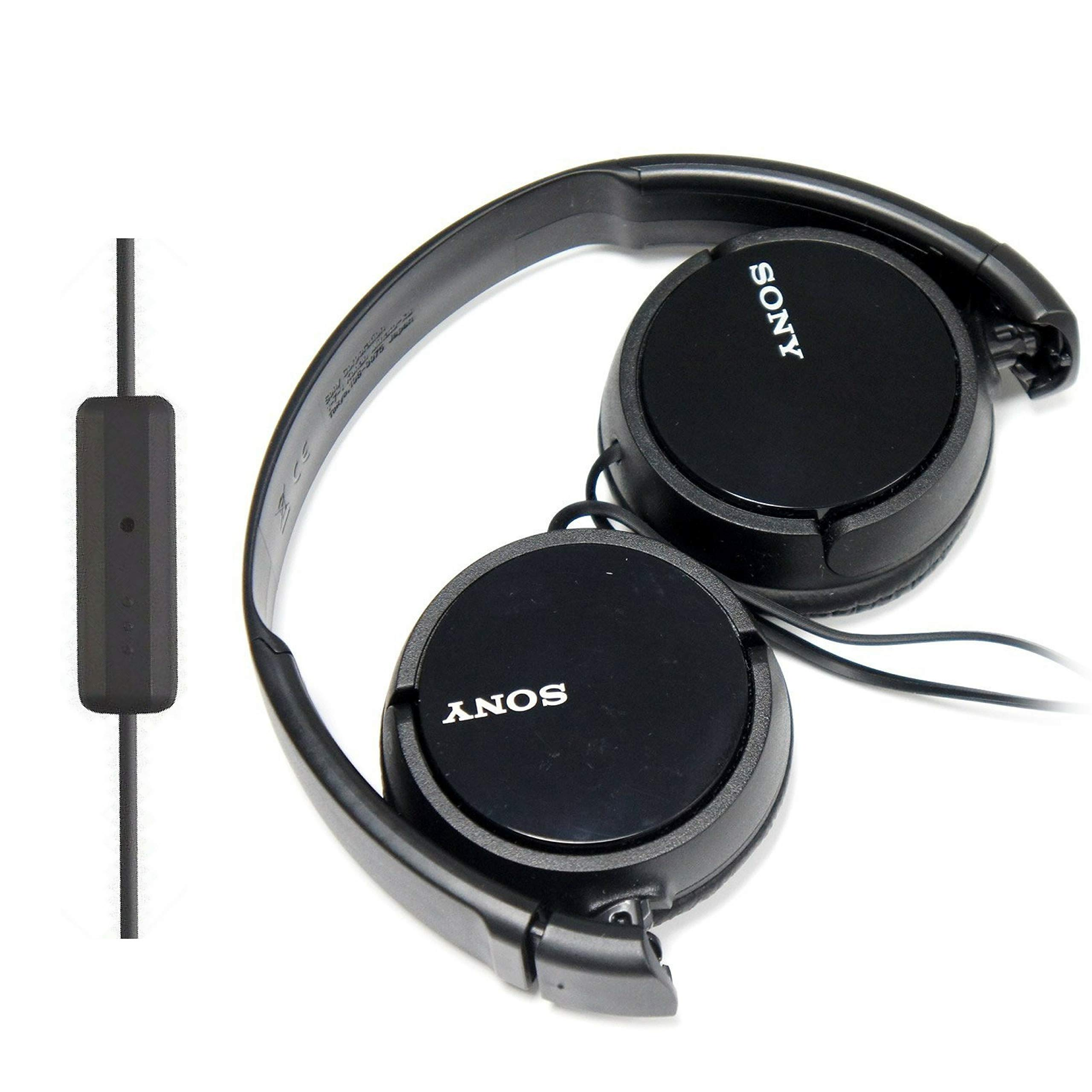 SONY Over Ear Best Stereo Extra Bass Portable Headphones Headset for Apple iPhone iPod/Samsung Galaxy / mp3 Player / 3.5mm Jack Plug Cell Phone with Mic (Dark Gray)