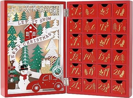 christmas Wooden Advent Calendar Countdown Decor 24 Drawers w//LED Light christmas tree Wooden Calendar NA
