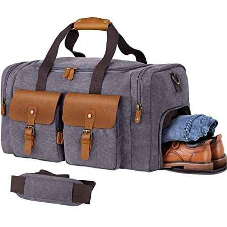 Wowbox Duffle Bag For Men Women Canvas Genuine Leather Large Duffel Bag Overnight Weekender Bag With Waterproof Shoe Compartment+Shoulder Strap With Pad, Gym Bag Travel Luggage Bag With Tag(Grey) by Wowbox