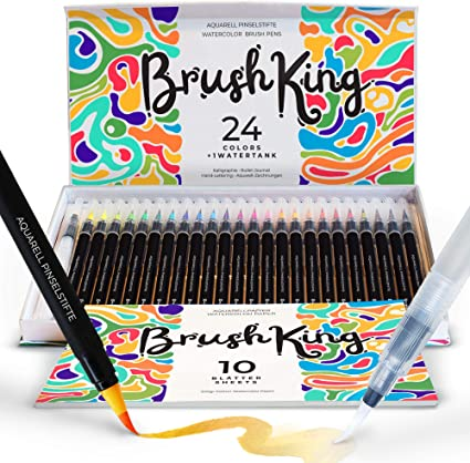 Brushking C Pinselstifte Set I 24 Aquarell Farben Aquarellpapier