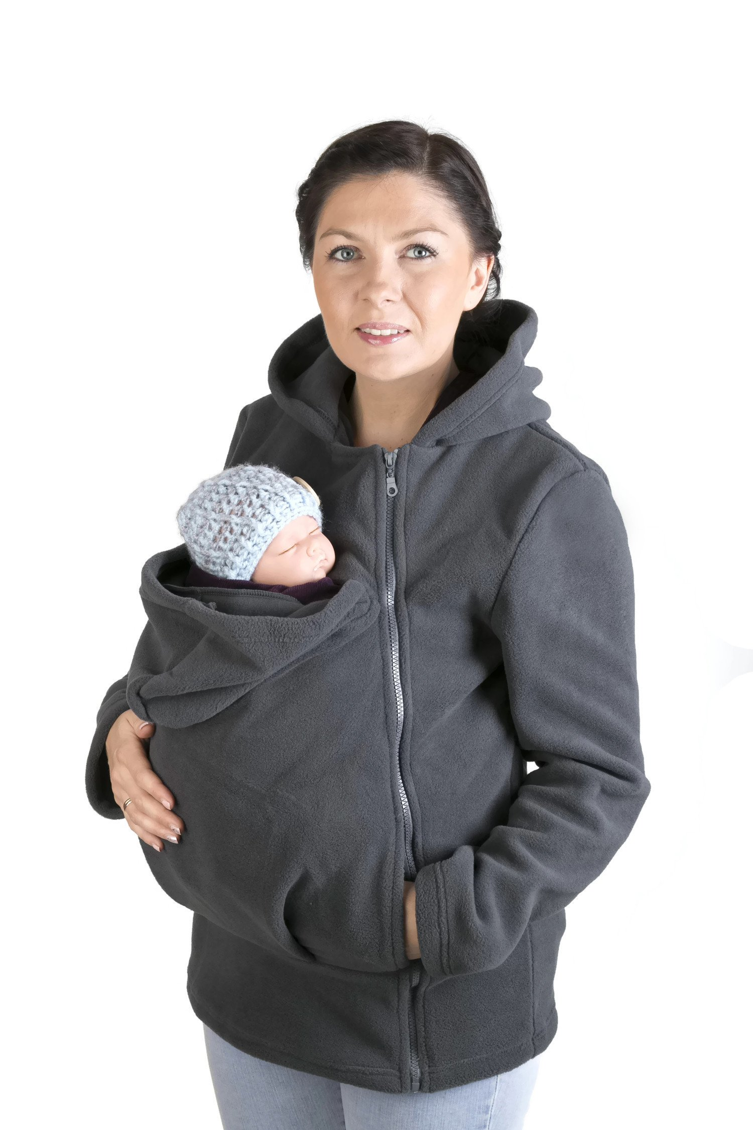 Maternity Polar warm fleece Hoodie / Pullover for two / for Baby Carriers/ Baby carrying wearing (M - US8)