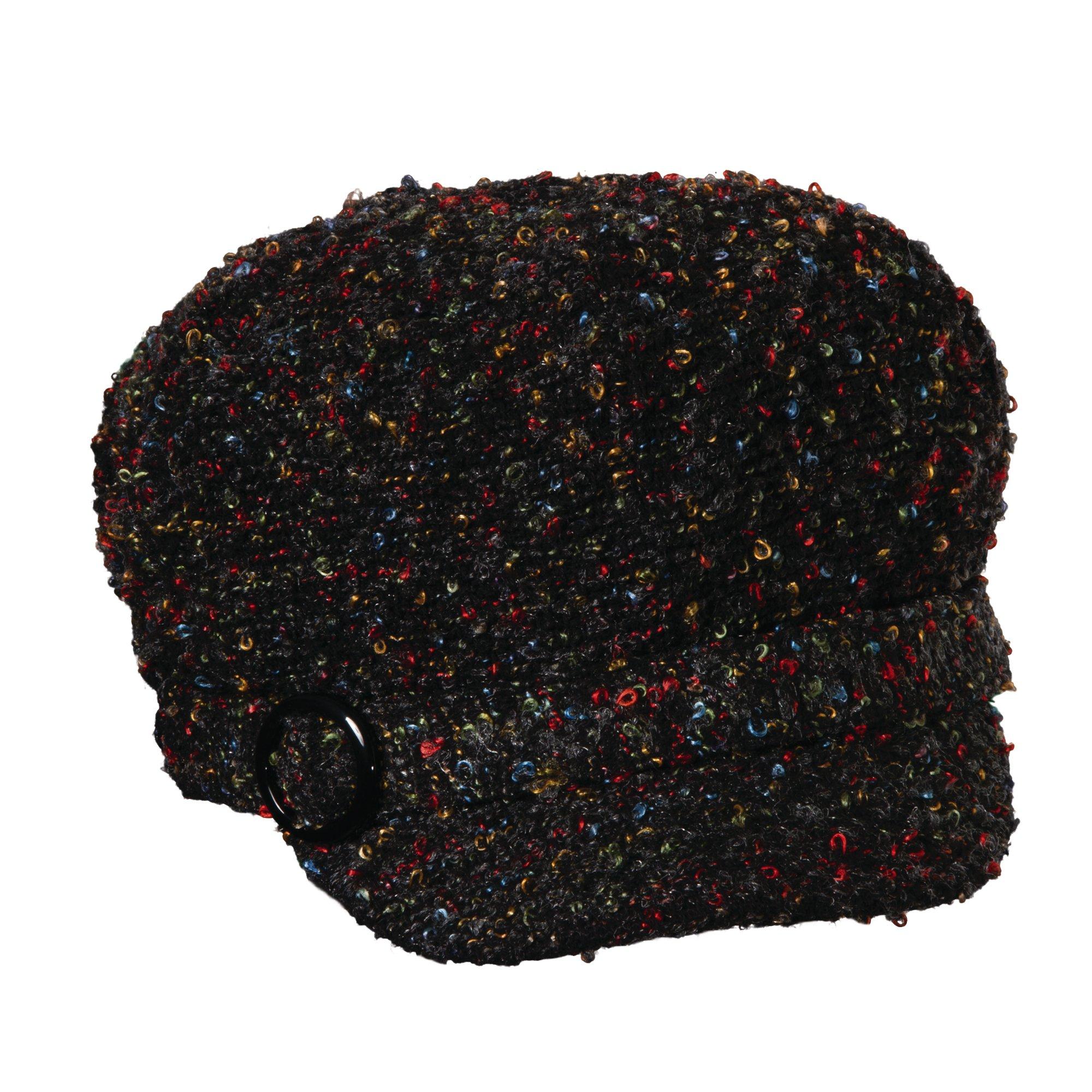 SCALA Multi Tone Tweed Jockey HAT (Black)