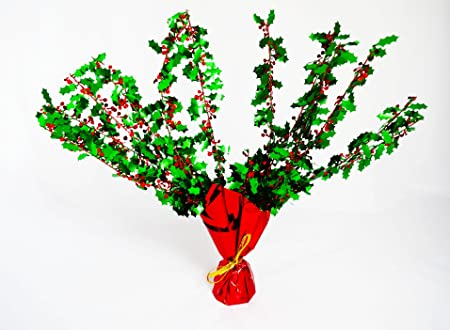 card and party store christmas holly centrepiece table decorations dinner tableware foil spray xmas
