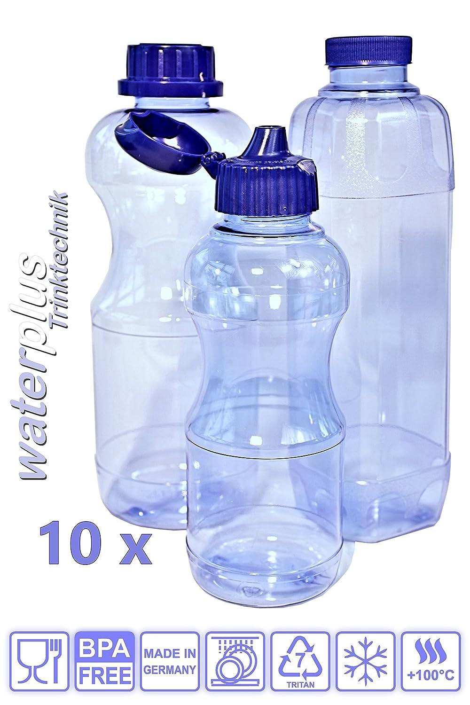 10 TRITAN Trinkflaschen BPA frei Set aus: 3x 1 Liter (rund) 3x 1 Liter (eckig), 4x 0,5 Liter (rund) + 6 Standard-, + 4 Dicht-, + 2 Trinkdeckel, weichmacherfrei waterplus