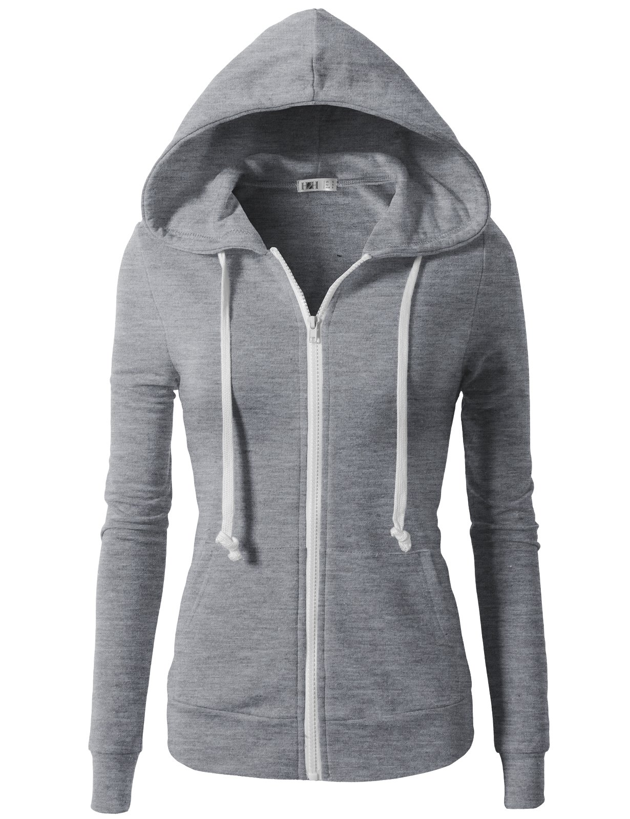 H2H Womens Soft Regular Fit Zip up Long Sleeve Fine Cotton Hoodie Jacket Gray US XS/Asia XS (CWOHOL020) by H2H (Image #1)