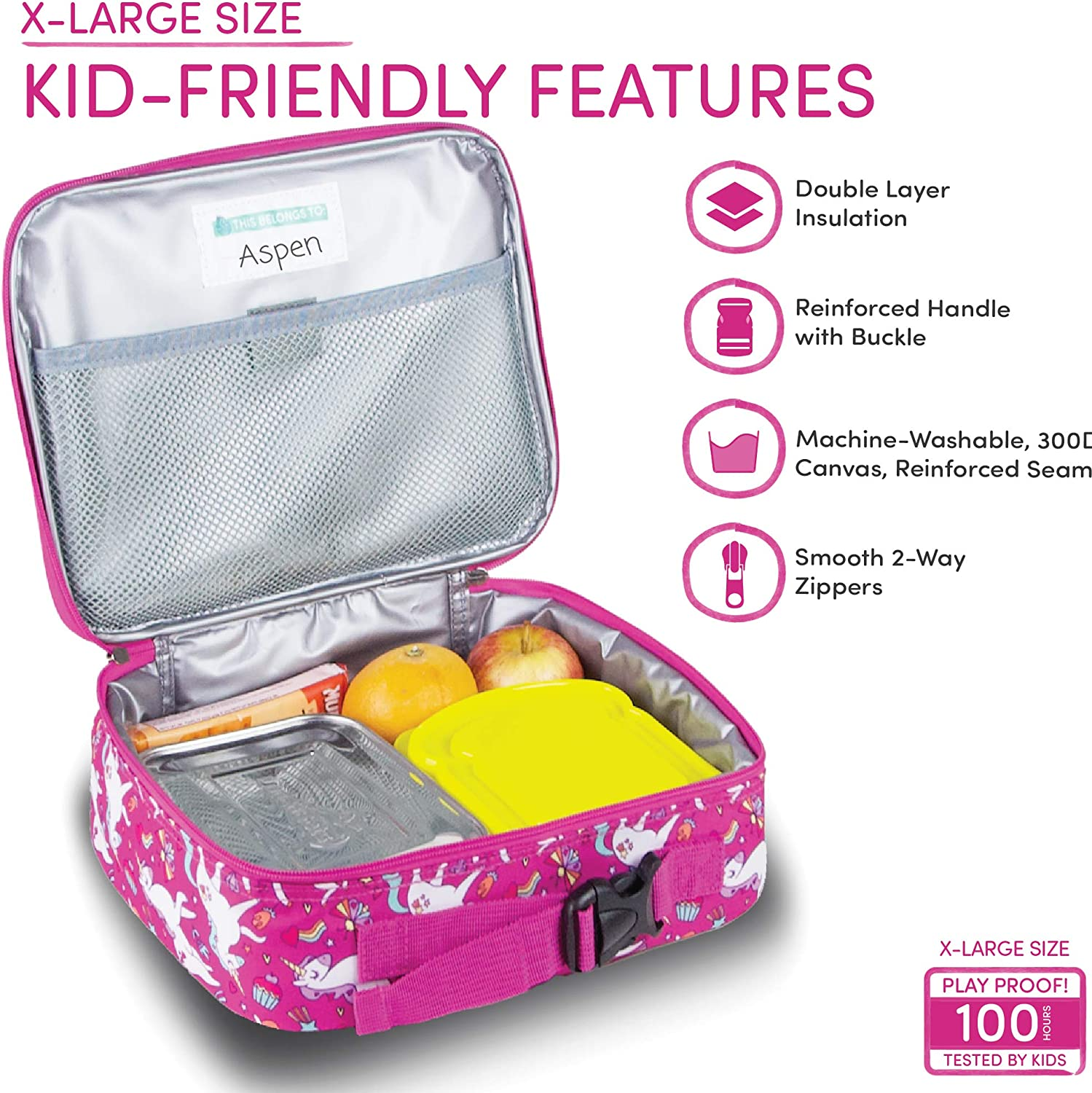 Mary the Unicorn LONECONE Kids Insulated Lunch Box Standard Cute Patterns for Boys and Girls
