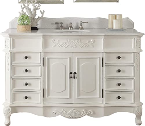 56 Traditional Style White Marble Morton Bathroom Sink Vanity – CF-2815W-AW-56
