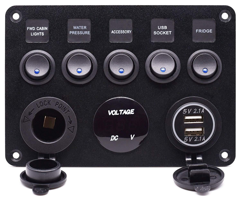 24V Marine Boat Car 2 USB X-ZBS 5 Interruptores de pandillas Panel de Control Interruptor basculante LED 12V