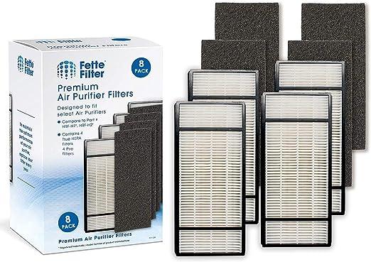 Fette Filter – Filtro purificador de aire y prefiltro compatible con Honeywell True HEPA Filter H HRF-H1, HRF-H2 y filtro B HRF-B1, HRF-B2 (4 HEPA y 4 prefiltro): Amazon.es: Hogar