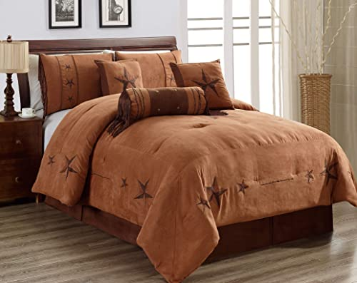 7 Piece Full Size Chocolate Brown Gold Bedding Rustic Lone Star Comforter Set 90 X 86 Micro Suede Western Decor Lodge Bed in A Bag for Double Bed