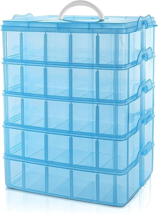 BELLE VOUS Caja Almacenamiento Plástico Azul 5 Niveles - Ranuras ...