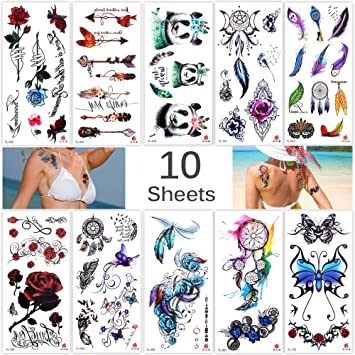 c7520f084 Lady Up 10 Sheets Temp Body Art Temporary Tattoos Fake Tattoo for Women Kids  Butterfly Flower