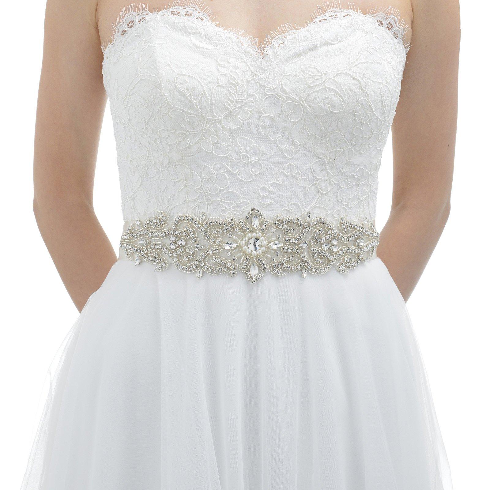 AW Wedding Belt Bridal Sash - Crystal Belt for Wedding Dress - Silver Women Belt for Prom Party Dress