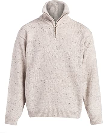 Boyne Valley Knitwear Mens Zip Neck Merino Wool Sweater