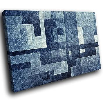 AB1730C Gerahmte Leinwanddruck Bunte Wand Kunst   Blau, Grau, Schwarz Cool    Modernes