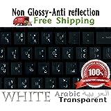 Arabic Keyboard Stickers Transparent White Letters for black Laptop, Computer Pc Desktop Notebook keyboard
