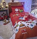 Catherine Lansfield - Set coordinato con copri-piumino e federe, per letto matrimoniale, dimensioni 200 x 200 cm + 2 federe 50 x 75 cm, 60% percalle di cotone e 40% poliestere, motivo: i regali di Babbo Natale